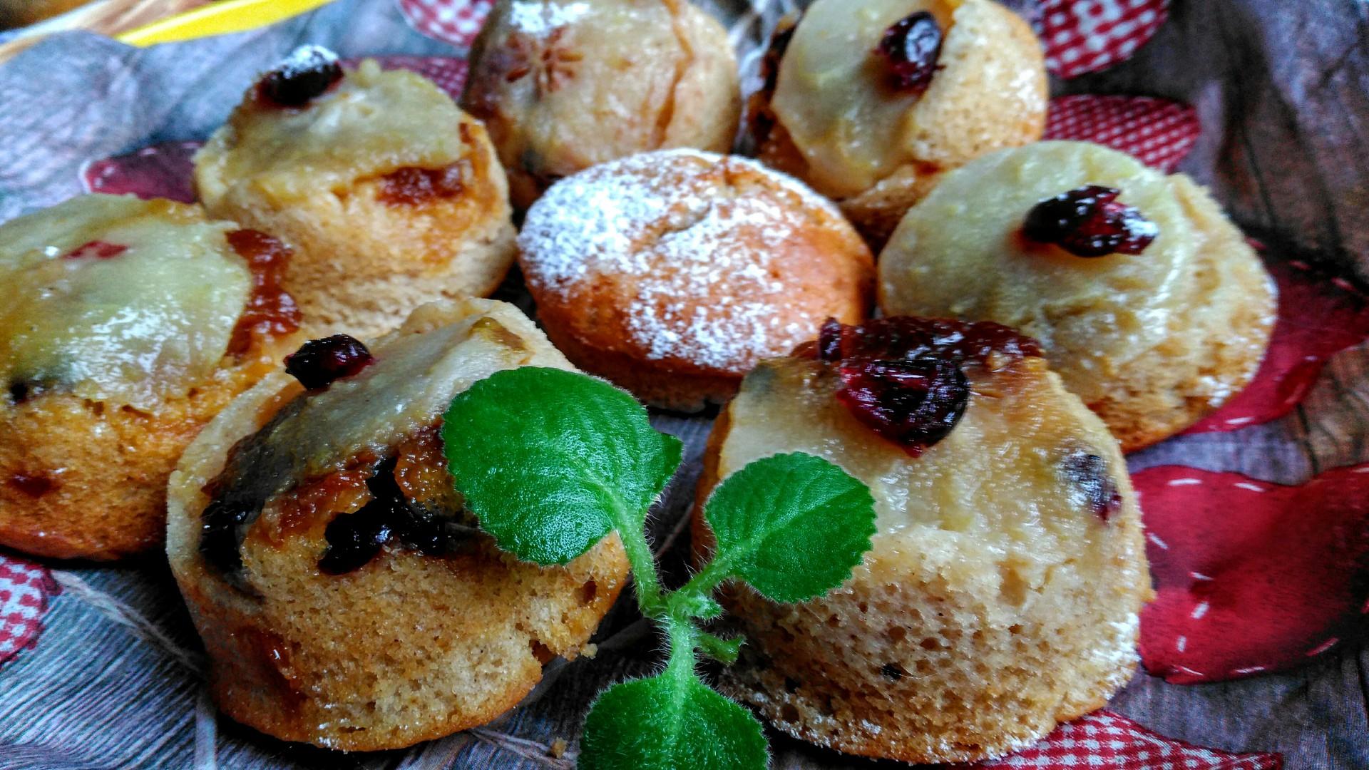 Obrácené hruškové muffiny recept