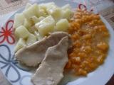 Dušená mrkev s plátky masa recept