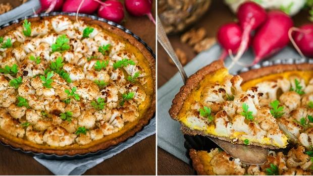 Květákový koláč s ořechy a citronovým krémem