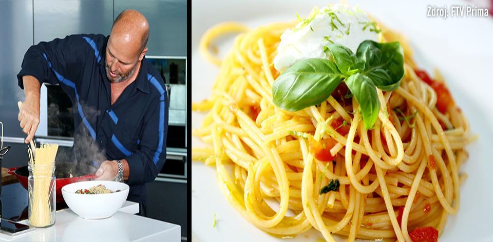 Špagety s rajčaty a ovčím sýrem podle Zdeňka Pohlreicha