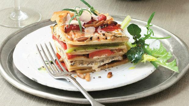 Lasagne s pečenou paprikou, cuketou a ricottou