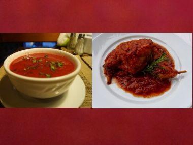 Oběd 56  Rajčatová polévka a Králík na rajčatech