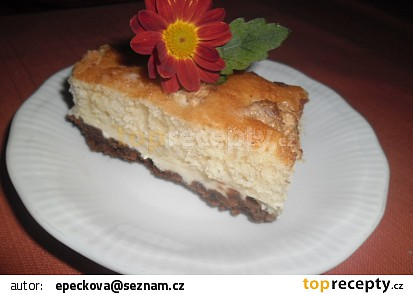 Dvojbarevný koláč s tvarohem a ovocem recept