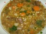Čočkovo-kroupová polévka s houbami recept