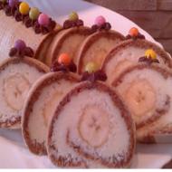 Karamelovo-kokosová roláda s banánem recept