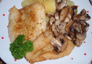 Kořeněná ryba se žampiony
