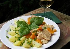 Pangas na víně se zeleninou a bazalkou recept