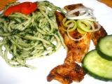 Pangass v koření se zelenými špagetami recept