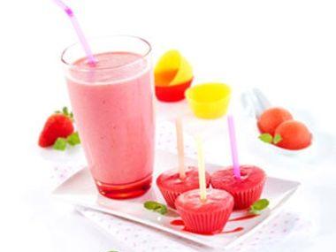 Dětský melounovo-jahodový shake a smoothie nanuk