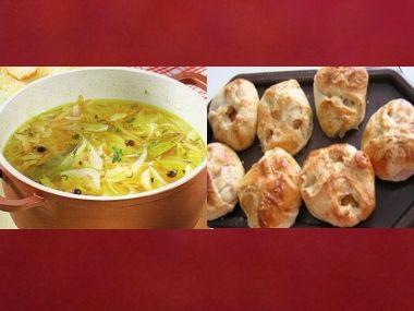 Oběd 67  Cibulová polévka se sýrem a Kuře v listovém těstě ...