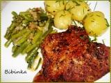 Zlatý krkovičkový steak s fazolkami recept