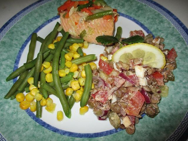 Lososové filety s mraženou zeleninou recept