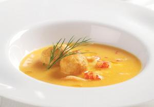 Krémová polévka z potočních raků s knedlíčky