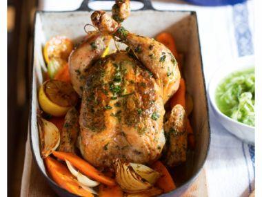 Pečené kuře s citronovo-bylinkovým máslem