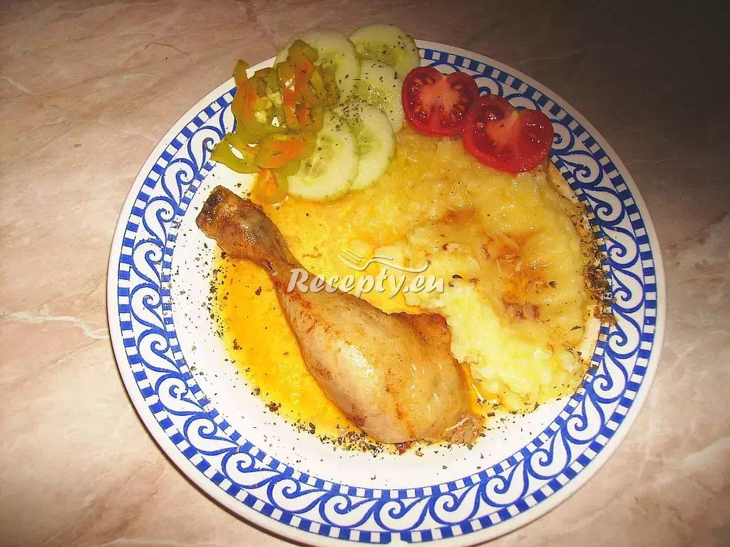 Pečené kuře s bramborovou kaší recept  drůbeží maso