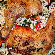 Pečená kuřecí stehna na dušené rýži recept