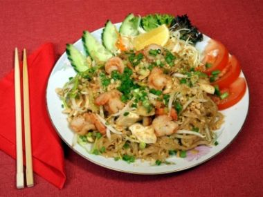 Recept Rýžové nudle s tofu a krevetami