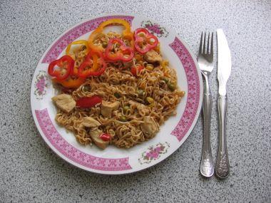 Recept Nudle s vepřovým masem a arašídy