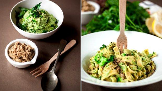 Brokolicové tagliatelle s oříškovým parmazánem