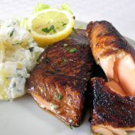 Filety z lososa a smetanové brambory recept