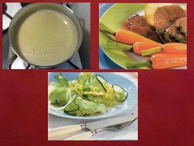 Sváteční oběd 4  pórková polévka, jehněčí a carpaccio