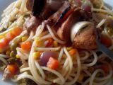 Pikantní kuřecí špíz se špagetami recept