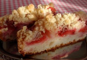 Jahodový koláč z podmáslí (kefíru)