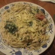 Zapečené špagety se špenátem a kuřecím masem recept