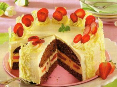 Jahodový dort s nugátem  bez vážení