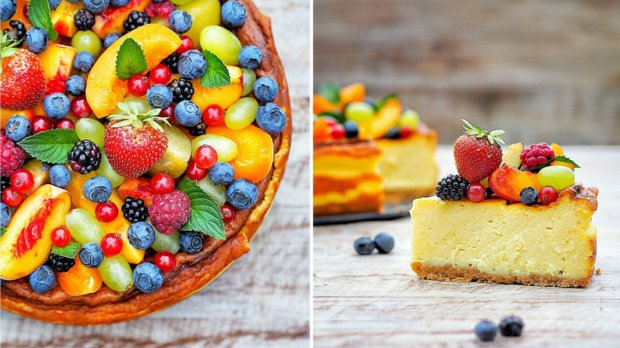 Smetanovo-sýrový dort s ovocem