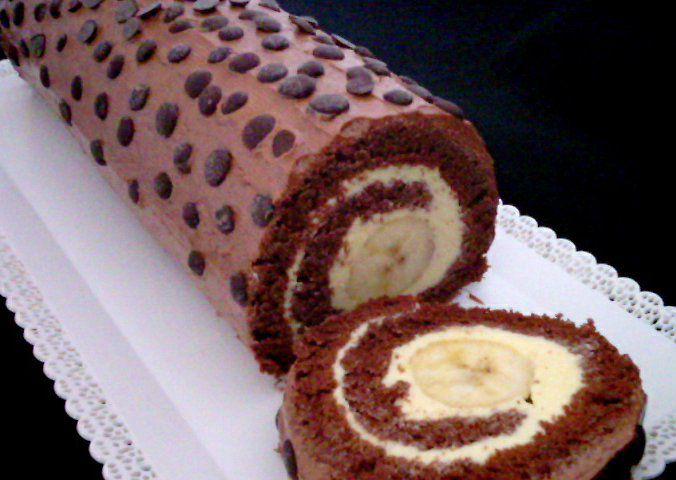 Kakaová roláda s banánem č.II recept