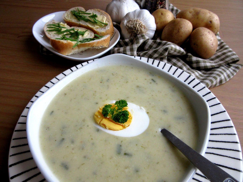 Bramborovo  česneková krémová polévka recept
