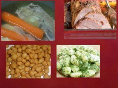 Sváteční oběd 22  Játrová polévka a pečeně s noky