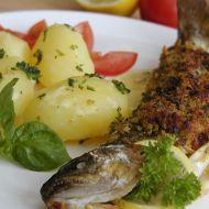 Pstruh s česnekem a bylinkovou krustou recept
