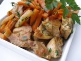 Kořeněná mrkev s kedlubny a kuřecím masem recept
