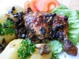 Kmínová kuřecí stehna na hříbkách a hořčici recept