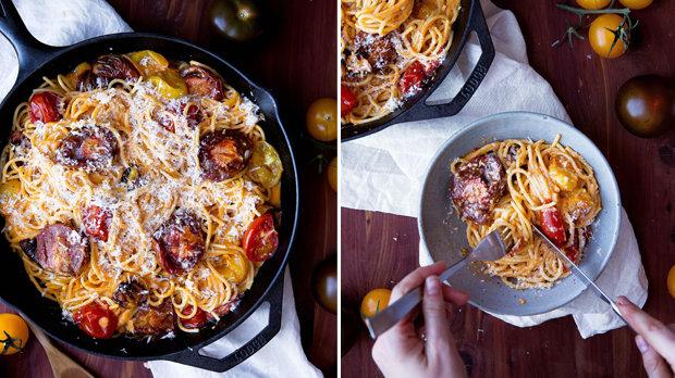 Špagety s pečenými rajčaty
