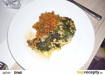 Čočka s rajčaty a steak v petrželi recept