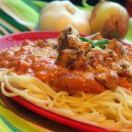 Špagety s kuřecím masem a rajskou smetanou recept