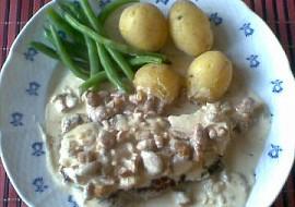 Steak s liškovo  smetanovou omáčkou recept