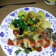 Kuřecí špíz s rajčatovo-olivovou salsou recept
