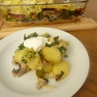 Zapékané brambory se žampiony a pórkem recept