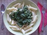 Penne se špenátem a s kousky kuřecího masa / dietni recept ...