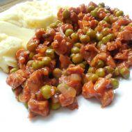 Sója na hrášku v rajčatové omáčce recept