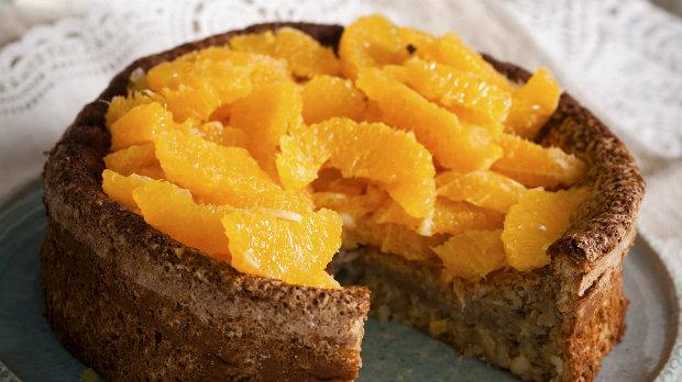 Bezlepkový mandlový dort s pomeranči