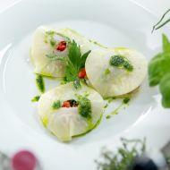 Celerové ravioli plněné pečenou paprikou recept