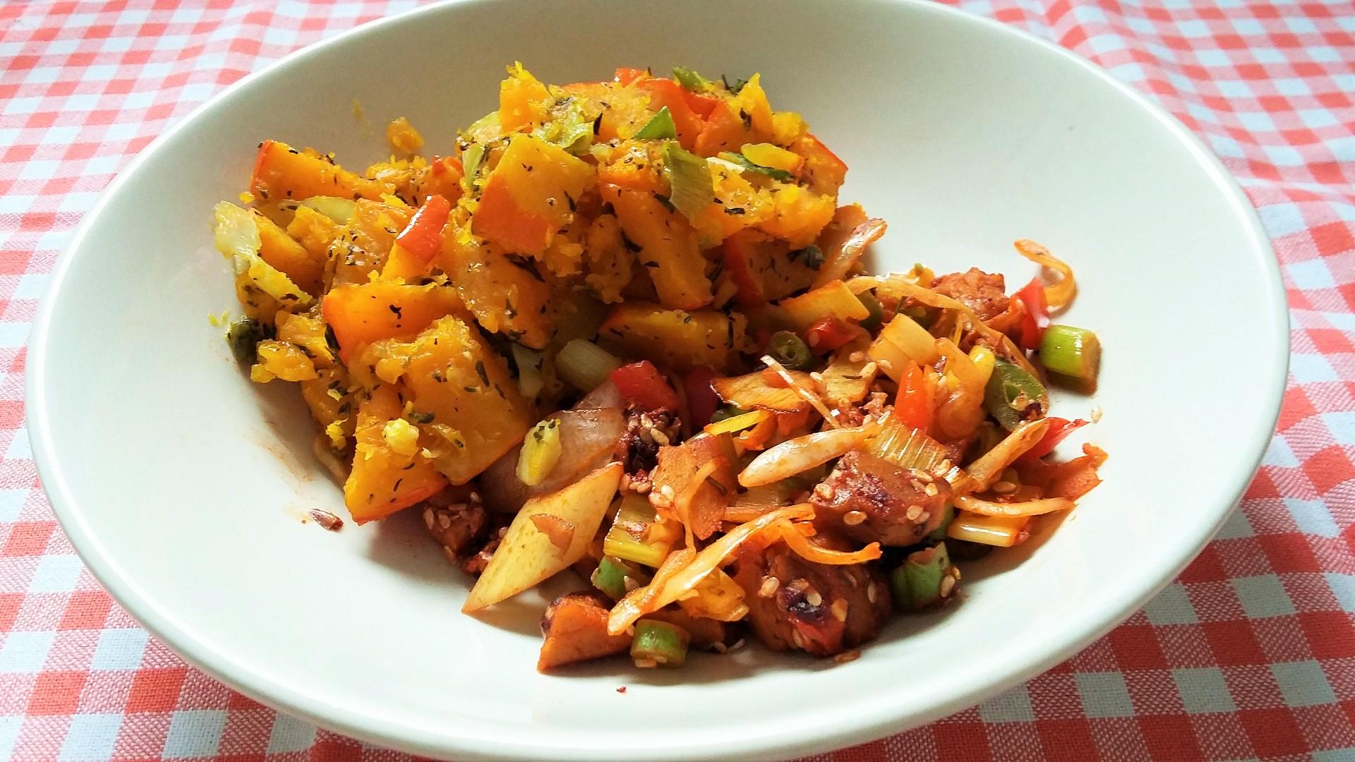 Wok seitan po rajsku podávaný s pečenou zeleninou recept ...
