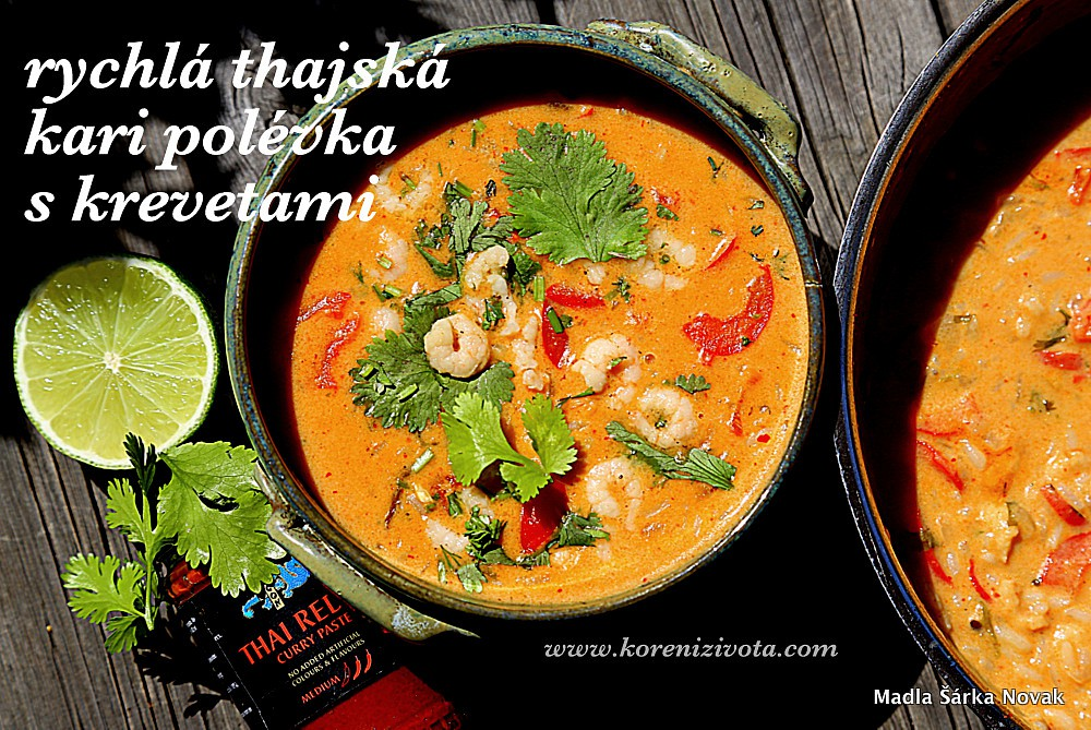 Rychlá thajská kari polévka s krevetami recept