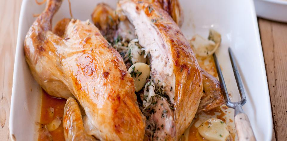 Pečené kuře s polentovými hranolky