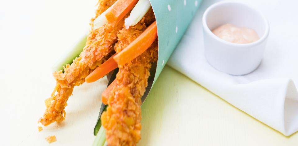 Kuřecí proužky v cornflakes